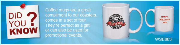 Did You Know? We also offer Coffee mugs that can be personalized with one of our 1000+ stock designs or your logo/design.