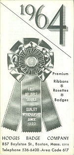 Hodges Badge Company rosette ribbon award from 1964